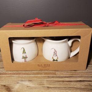 Rae Dunn Gnome Christmas Sugar and Creamer Set